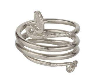 Solid 925 Sterling Silver Triple Coil Adjustable Snake Ring