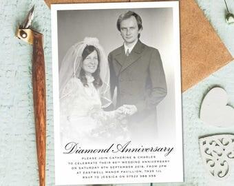 60th Anniversary Invitations, 60th Wedding Anniversary Invites, 60th  Wedding Anniversary Invitations, 60th Wedding