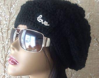 Black Slouchy Hat, Black Slouchy Beanie, Black Beanie, Black Hat, Black Winter Hat, Black Crochet Hat, Black Women's Hat, silver black hat