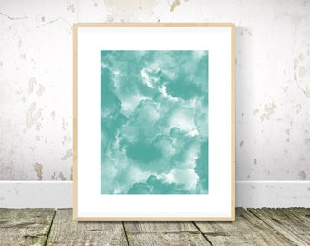 Smoke Print, Teal Wall Art, Teal Print, Teal Abstract Painting, Teal Art, Printable Wall Art
