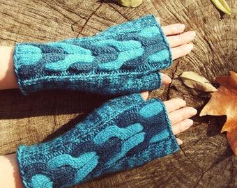 Hand knit women fingerless mittens Warm blue womens mittens Cabled woolen winter ladies gloves Hand knitted cabled wool turquoise mittens