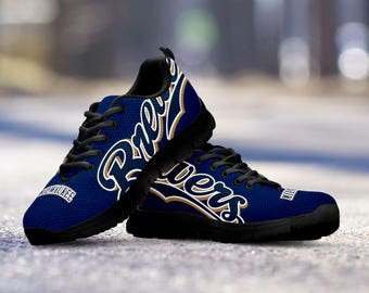 Milwaukee Brewers Baseball Fan Custom Running Black Shoes/Sneakers/Trainers - Ladies + Mens Sizes fan, collector, gift
