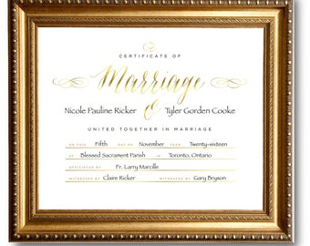 Custom Marriage Certificate