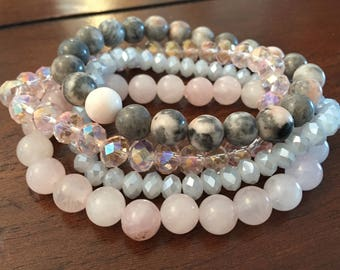 Pink and Grey 4-pc Stone and Glass Bracelet Set