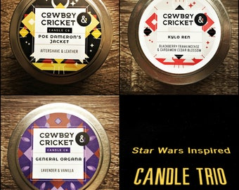 Star Wars Inspired Trio - Poe Dameron's Jacket, Kylo Ren, & General Organa  - Trio of Handmade Scented Soy Candle - 3 x 4 oz tin with lid