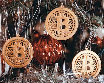 Gold 3D Printed Bitcoin Christmas Ornament