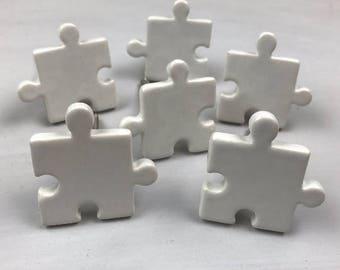 Set 6 x White JIGSAW PUZZLE ceramic - Knob Home decor drawer pull Nursery