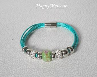 Bracelet beads rhinestone and turquoise cord