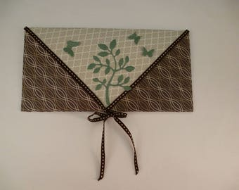 Example envelope chocolate and Taupe for card or check