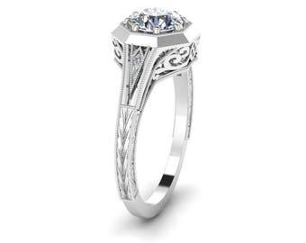 Hand Engraved, Antique Style, Diamond Ring, 14K White Gold.
