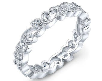 Eloquently hand detailed Diamond Vine Ring