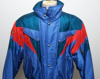 Vintage Descente Ski Jacket Coat  Air Force Blue Red Green Size Large 80s 90s