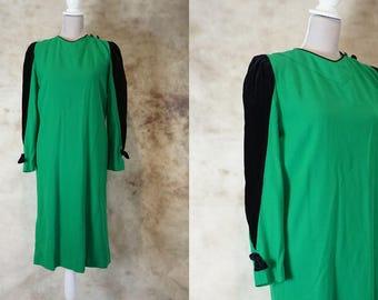 Vintage Wool Dress, 80s Velvet Dress, Wedding Guest Dress, Green Dress, Midi Dress 1980, Size M, Size L, Medium Large, St Patrick's Day