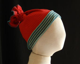 Child hat in jersey, reversible, striped blue/green duck/red or plain.