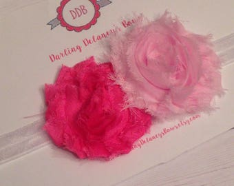 Baby Headband 2 color flower.... Baby Bow, Infant Bow, baby girl headband, baby girl bow