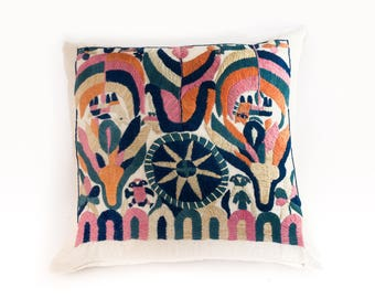 Hand Embroidered Pillow Sham