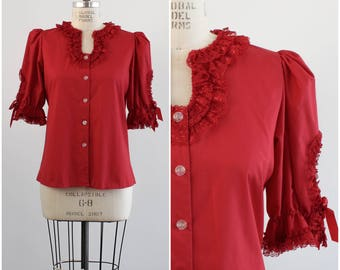 Red Button Down  Frilly Lace Vintage Dance Swing Top/ Ruffles Shirt/ Iridescent Flower Buttons/ Small
