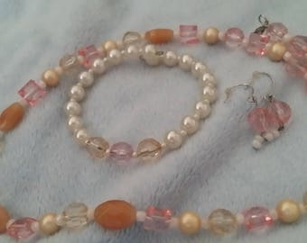 Pink ,peach,and white imitation pearl jewelry set