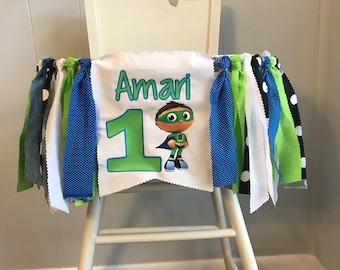Super Why Wyatt Birthday Party Banner  high chair Super Why banner