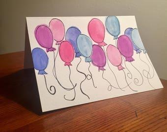 Watercolor Balloon Birthday Card