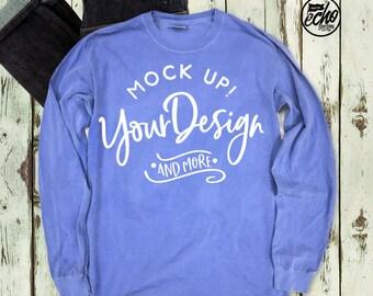 Comfort Colors®Adult Long sleeve Shirt Mockup-Mock Up Shirt-T Shirt MockUp-Outfit Wood Background-Flat Lay Mockup-Product Photography