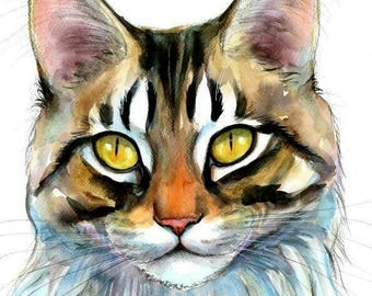 Maine Coon Cat Original Watercolor Painting