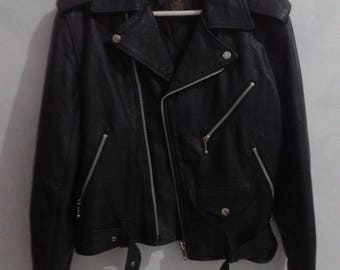 Vintage Biker Leather Jacket 666 Made in england Size 34
