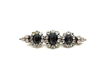 Antique Victorian 9ct Gold Wash Sterling Silver White & Black Star Sapphire Pin Brooch