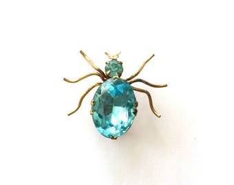 Antique Bohemian Czech Bras Blue Faceted Rhinestone Spider Pin Brooch