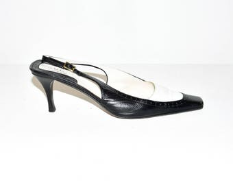 Vintage Black All Leather GUCCI Sling Back Mid Heel Court Shoes Size 4.5/37.5
