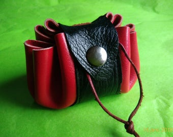 Black and red leather purse