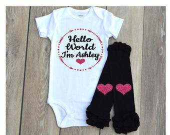 Hello World Newborn Outfit - Black and Pink Glitter - Newborn Girl Outfit -  take home outfit - Hospital Outfit Z16