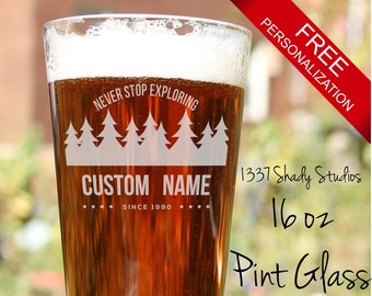 CAMPING BARWARE Custom Text Pint Glasses - Individually Laser Engraved with Your Text - Camping Gift Design, Personal - Camping Design 8