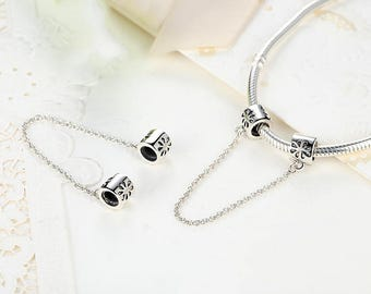 Daisy Safety Chain Bead Charms Fit European & Pandora Charm Bracelet Authentic Sterling Silver Authentic Luxury Jewelry