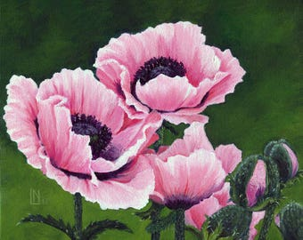 Pretty Pink Poppies 8x10 Acrylic Painting