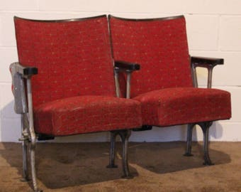 A Pair of Vintage Art Deco C1930s Stylised Cube Designed Cinema Theatre Seats REF122