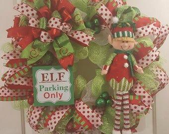 Christmas Wreath, Winter Wreath, Elf Wreath, Christmas Elves Wreath, Deco Mesh Wreath, Ribbon Wreath, Seasonal Wreath