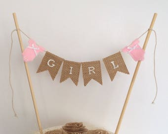 Baby cake topper . Baby girl cake topper . Its a girl . Burlap baby cake topper . Rustic cake banner . Baby bunting . Girl bunting .
