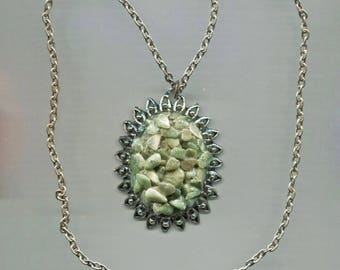 Pressed & Molded Green Glass Pendant On Silver Chain