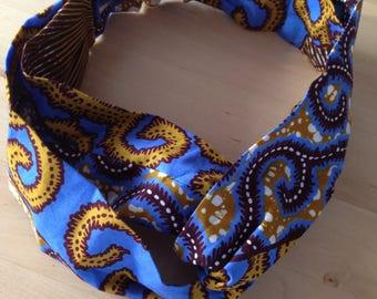Headband in blue and yellow wax
