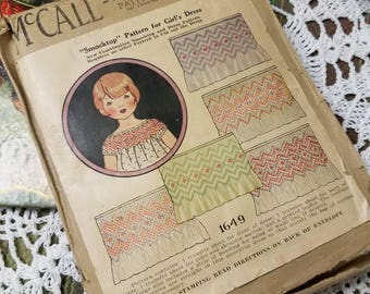 Antique 1920s McCalls Childs Smock Dress Pattern