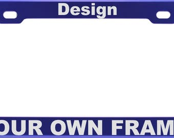 Blue CUSTOM | Personalized Anodized ALUMINUM License Plate Frame | Laser Etched | FREE Caps
