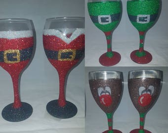 Christmas glitter glasses, Santa glasses, elf glasses, reindeer glasses, Christmas gifts, Christmas meal, Christmas glass set, novelty gifts