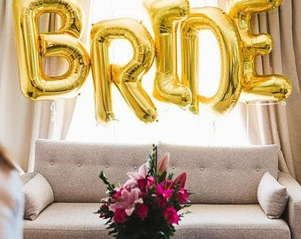 "BRIDE Gold Balloons - 40"" Giant Gold Balloons - Bridal Shower Balloons"