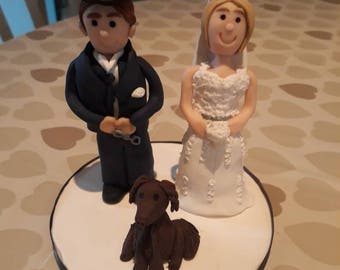 Clay keepsake wedding cake toppers. Personalised. Wedding decoration