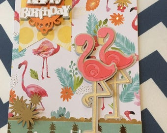 Flamingo Handmade personalized birthday card