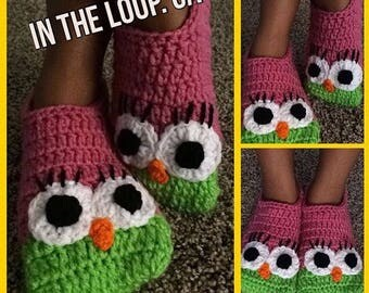 Adult owl slippers