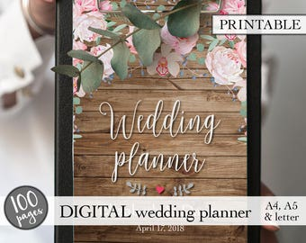 Wedding binder, Wedding planning book, Wedding planner printable, Printable wedding planner, Engagement gift, PDF download, Bridal gift idea