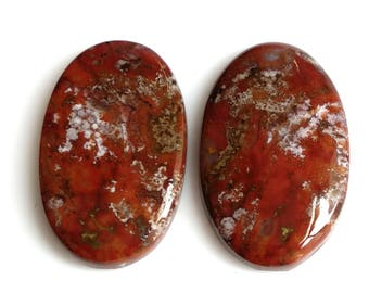 Blood Stone,Oval Pair, Cabochon, Size-25x16 MM Natural, Blood Stone, AAA, Quality,Loose Gemstone, Smooth Cabochons.