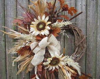 Ready to Ship - One of a kind Fall Silk Floral Crescent Wreath with Cream Sunflower, Gold Corn Husks, Brown Cattails, and a Burplap Bow